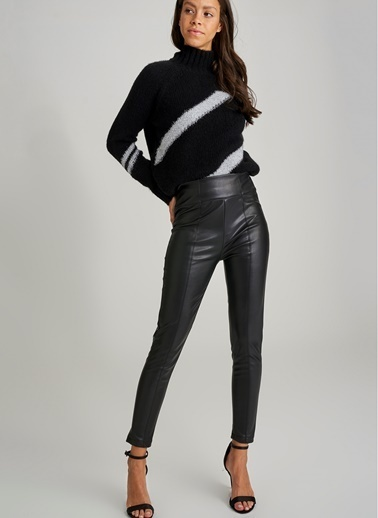Monamoda Suni Deri Pantolon Siyah